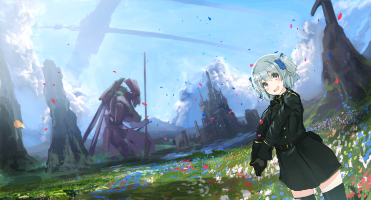 0_1544276153215_348c48fc-5b51-4167-a00f-23605d7333d5-Konachan.com - 233438 bow clouds flowers gloves gray_hair mecha necklace oota_youjo original petals red_eyes short_hair sky thighhighs twintails uniform.jpg